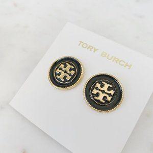 tory burch black logo earrings